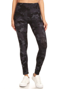 5-inch Long Yoga Style Banded Lined Camouflage Printed Knit Legging With High Waist