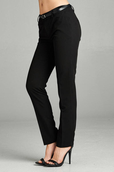 Ladies fashion plus size classic woven pants w/ belt