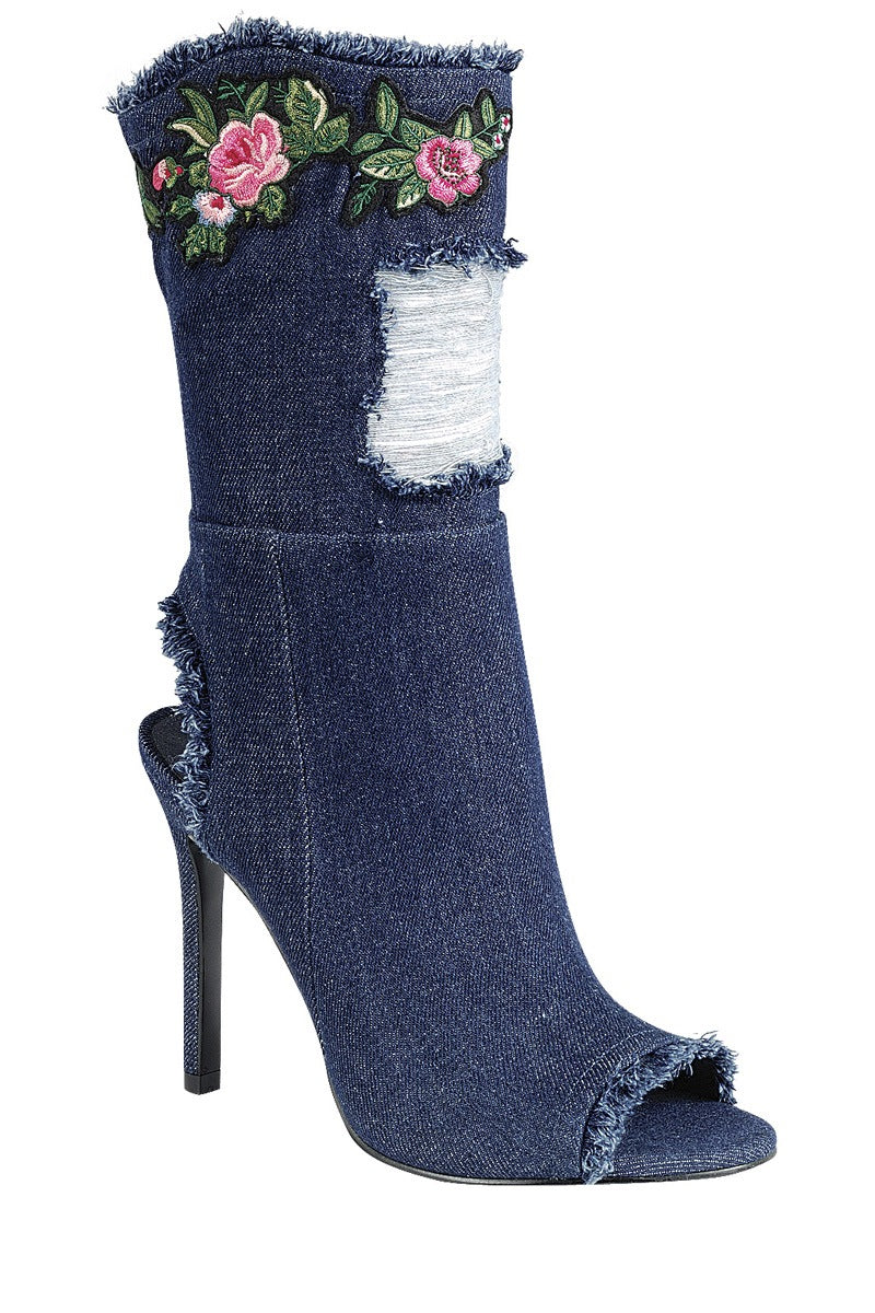 Ladies fashion distressed denim ankle boot, peep round toe, single sole stiletto heel