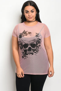 Ladies fashion plus size mesh crew neck unlined graphic print top