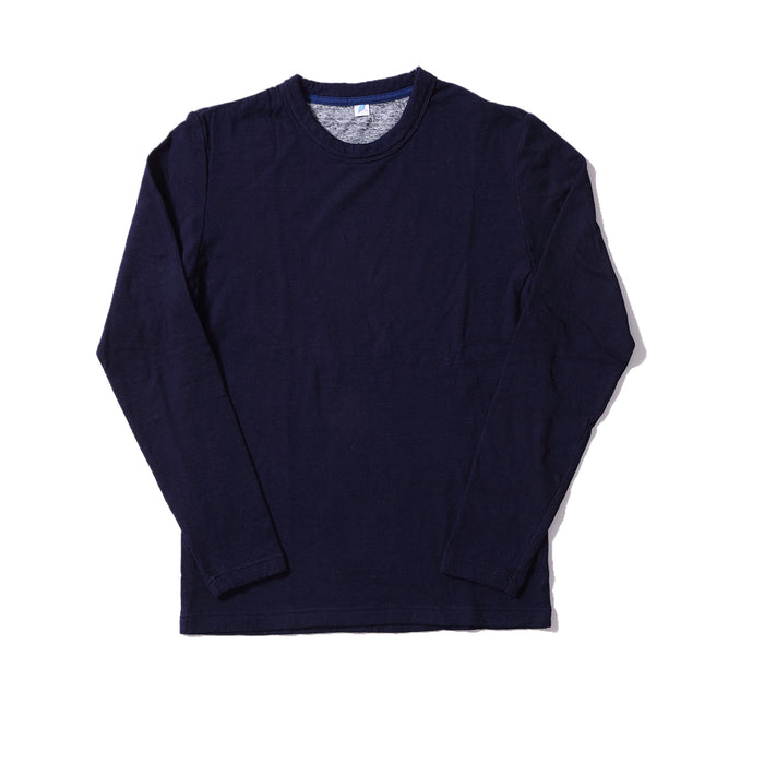 Knitted Double Face Crewneck LS Tee - Indigo