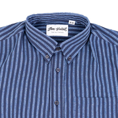 Gino S/S Dyed Dobby Stripe - Navy/Light Blue
