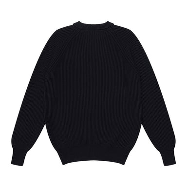 Heavy Rib Cotton Sweater Black