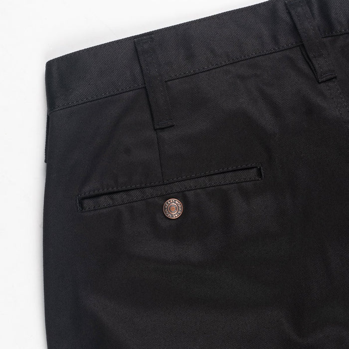 9oz Mercerised Selvedge Cotton Slim Tapered Chinos - IH-721 - Black