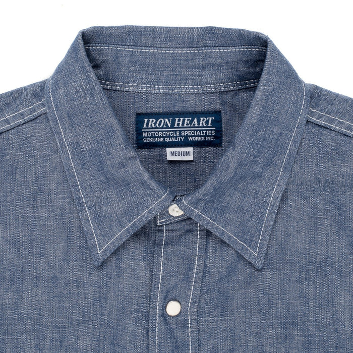 Iron Heart 10oz Chambray Western - IHSH-13-BLU