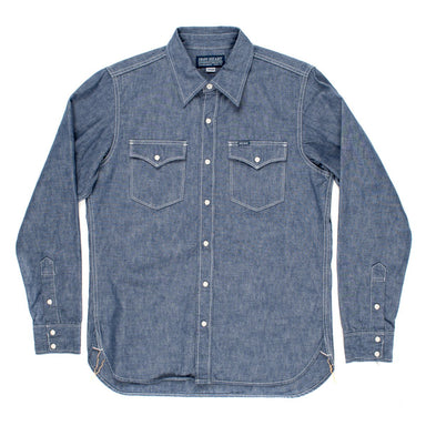 IHSH-13 Indigo Selvedge Chambray Single Yoke Western