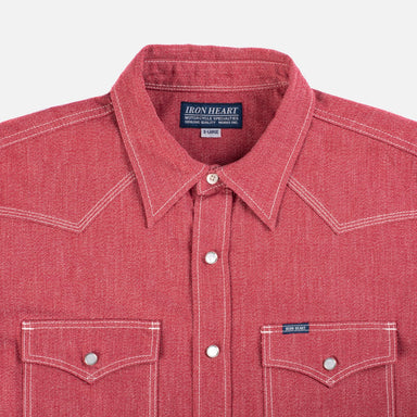 IHSH-289 Mock Twist Selvedge Western Shirt Red
