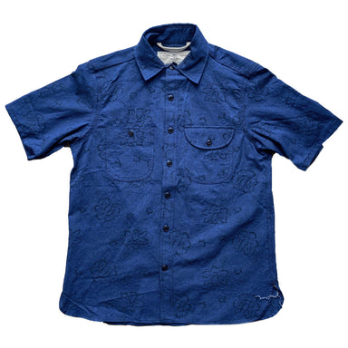 Work Shirt Short Sleeve Blue Floral