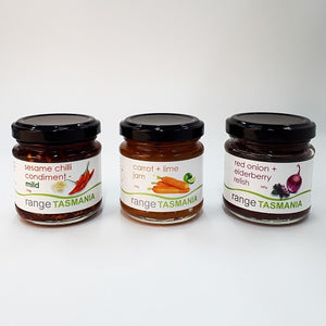 Gift Pack 2 - sesame chilli condiment mild, carrot + lime jam, red onion + elderberry relish