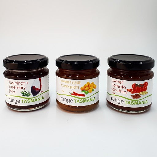 Gift Pack 1 - Tas pinot + rosemary jelly, sweet chilli cumquats, sweet tomato chutney