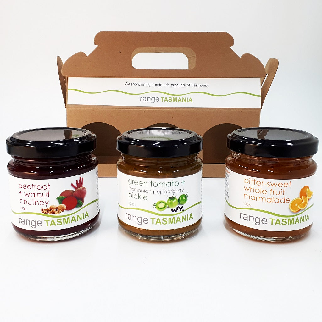 Gift Pack 3 - bitter-sweet marmalade, green tomato + pepperberry pickle and beetroot + walnut chutney