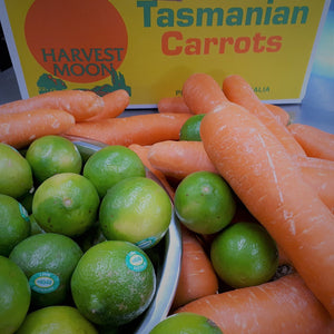 image of juicy Tasmanian carrots and Australian lime ready to make carrot and lime jam