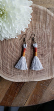 Load image into Gallery viewer, Burnt Orange Gold Cotton Tassel Earrings