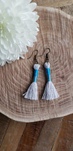 Load image into Gallery viewer, Sky Blue Cotton Tassel Earrings