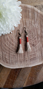 Burnt Orange Linen Tassel Earrings
