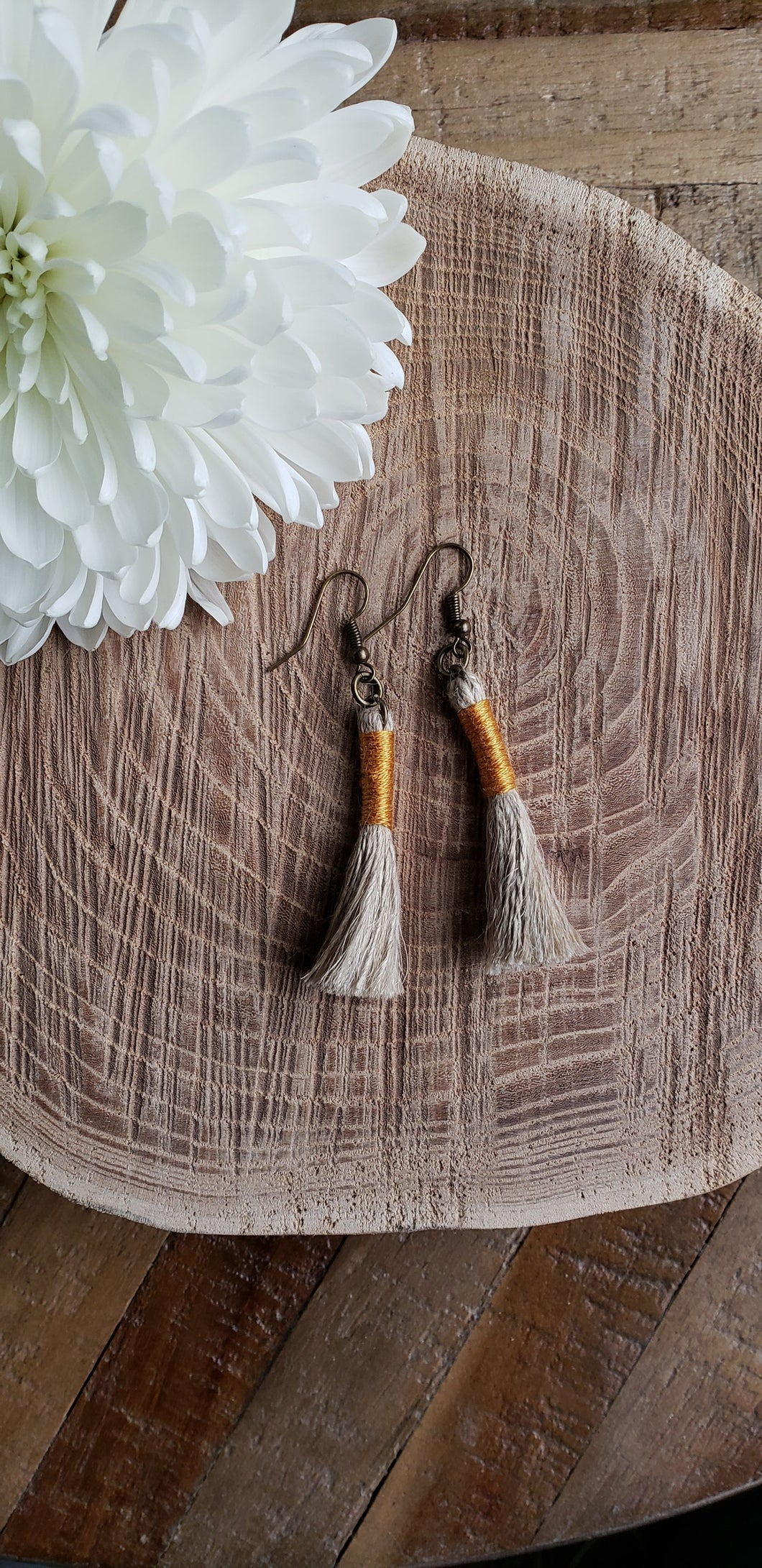 Gold Linen Tassel Earrings
