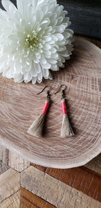 Hot Pink Linen Tassel Earrings