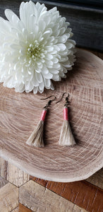 Rose Linen Tassel Earrings