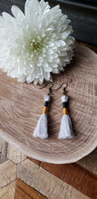 Load image into Gallery viewer, Black Gold Cotton Tassel Earrings