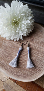 Periwinkle Cotton Tassel Earrings