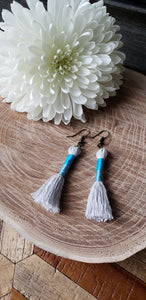 Sky Blue Cotton Tassel Earrings