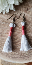 Load image into Gallery viewer, Ruby Pink Cotton Tassel Earrings