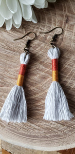 Burnt Orange Gold Cotton Tassel Earrings