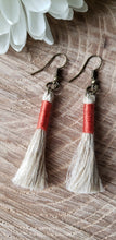 Load image into Gallery viewer, Burnt Orange Linen Tassel Earrings