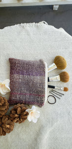 Handwoven Zipper Pouch // White Purple Natural