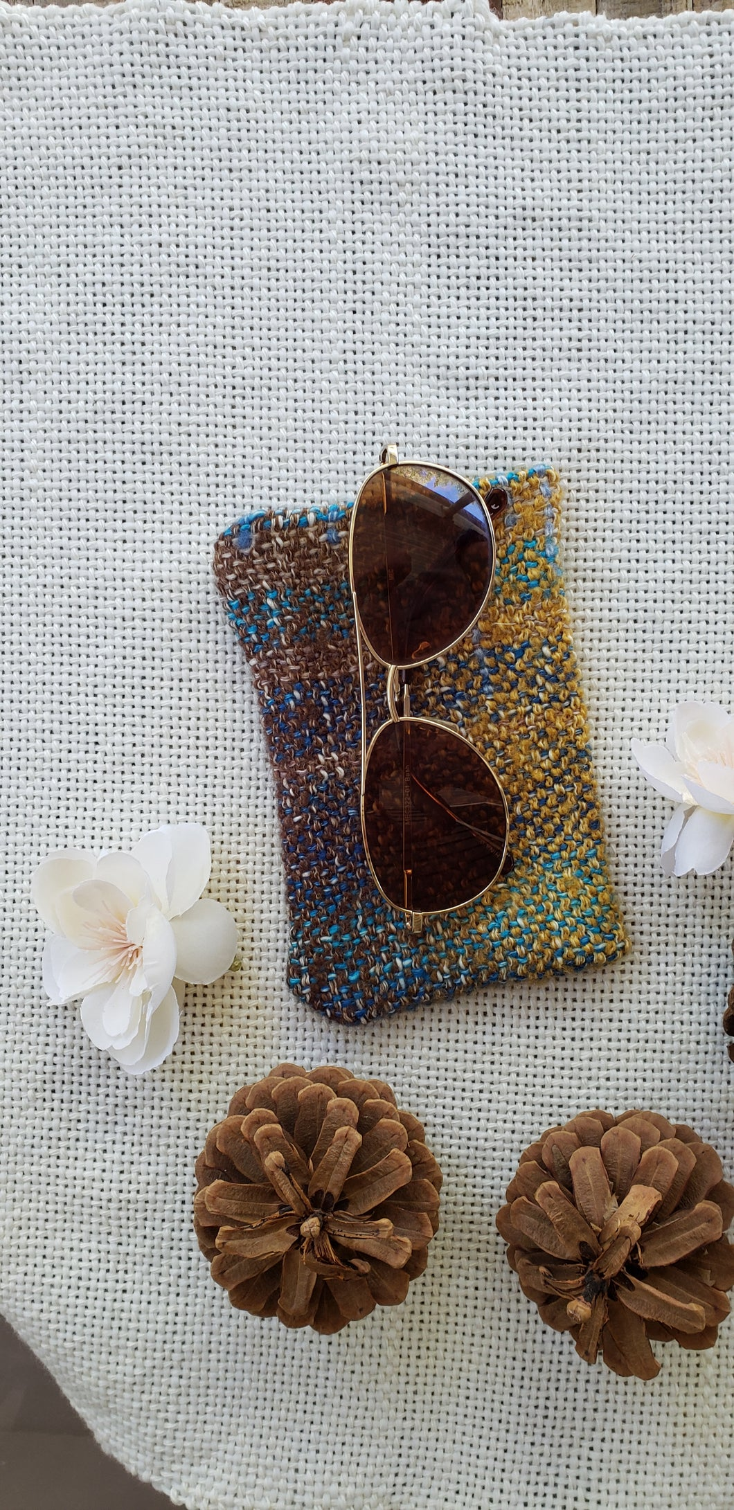Handwoven Glasses Case // Gold Teal Natural