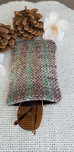 Handwoven Glasses Case // Grey Teal Natural
