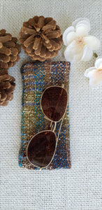 Handwoven Glasses Case // Brown Blue Green Natural