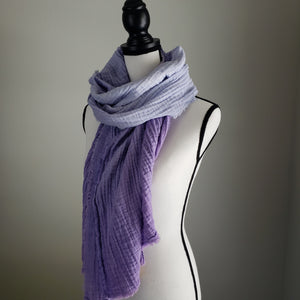 Hand-Dyed Scarf | Cotton Gauze Lavender Ombre