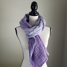 Load image into Gallery viewer, Hand-Dyed Scarf | Cotton Gauze Lavender Ombre