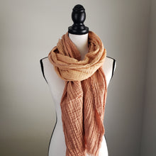 Load image into Gallery viewer, Hand-Dyed Scarf | Cotton Gauze Tan Ombre