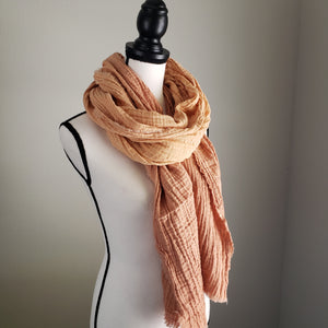 Hand-Dyed Scarf | Cotton Gauze Tan Ombre
