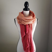 Load image into Gallery viewer, Hand-Dyed Scarf | Cotton Gauze Sunset Ombre