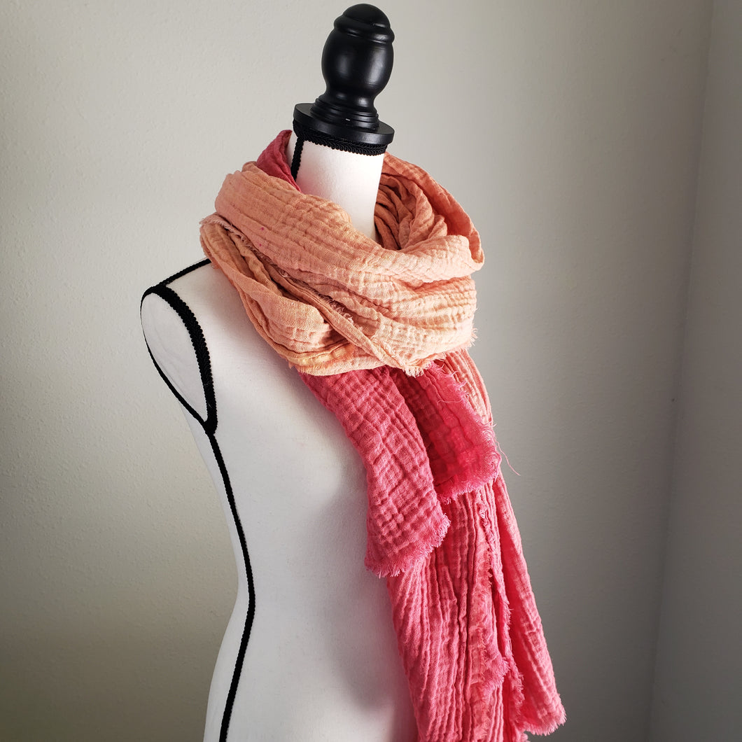Hand-Dyed Scarf | Cotton Gauze Sunset Ombre