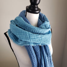 Load image into Gallery viewer, Hand-Dyed Scarf | Cotton Gauze Blue Ombre