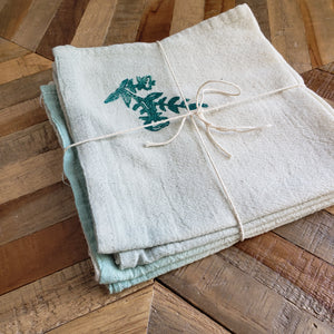 Napkins, Set of 4 | Sage and Teal Ombre Dyed Floral Print
