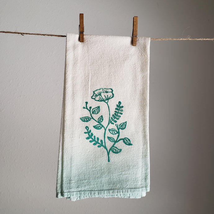 Tea Towel, Single | Teal Ombre Dyed Floral Print