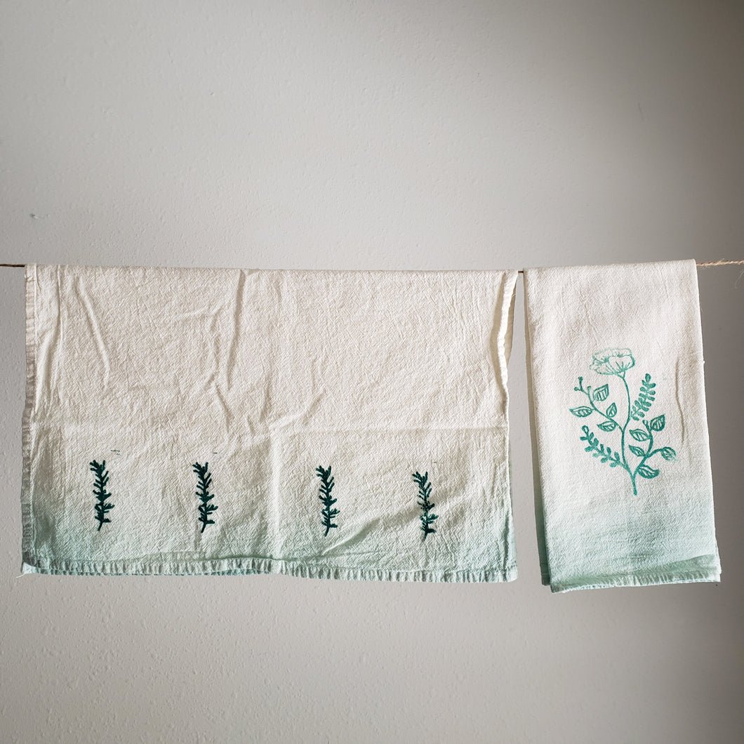 Tea Towel, Set of 2 | Teal Ombre Dyed Floral Print