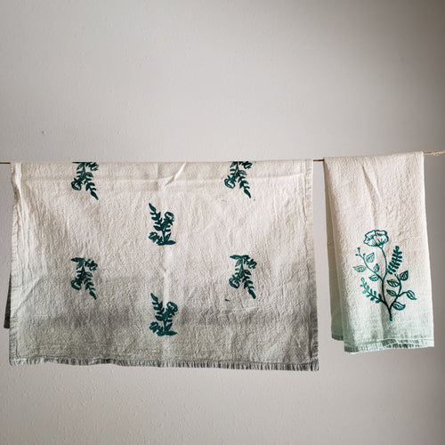 Tea Towel, Set of 2 | Sage Ombre Dyed Floral Print