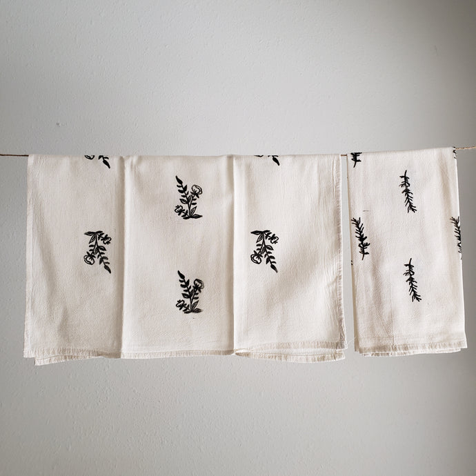 Tea Towel, Set of 2 | Black Floral Print