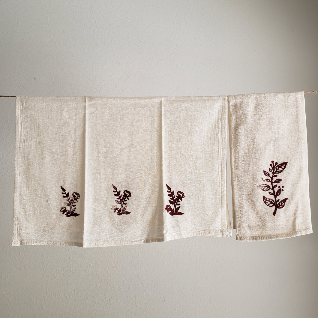 Tea Towel, Set of 2 | Burgundy Floral Print