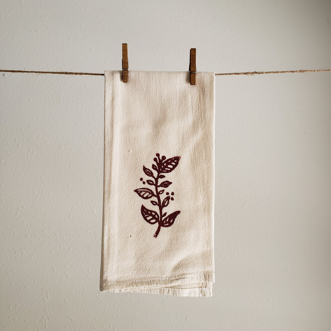 Tea Towel, Single | Burgundy Floral Print
