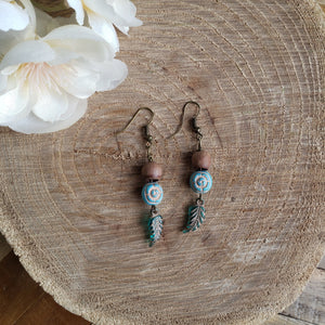 Acorn Top Ceramic Feather Earrings