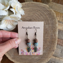 Load image into Gallery viewer, Acorn Top Ceramic Feather Earrings