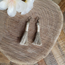 Load image into Gallery viewer, Creme Linen Tassel Earrings