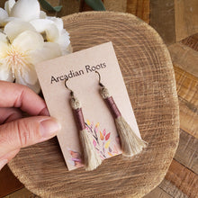 Load image into Gallery viewer, Mauve Linen Tassel Earrings
